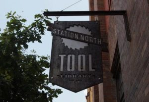 station north tool library sign on building