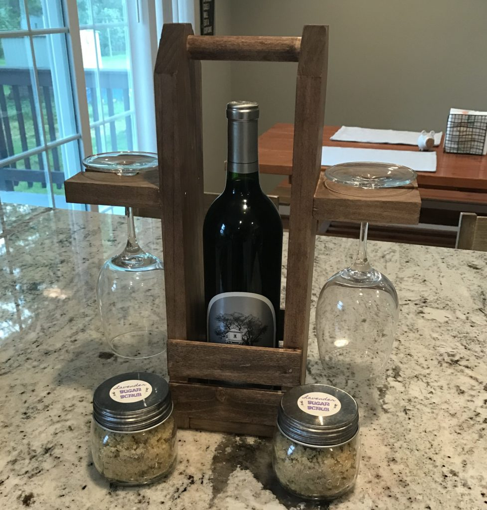 two glass wine caddy on countertop