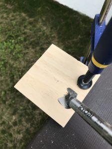 drilling shelf for wine glass caddy