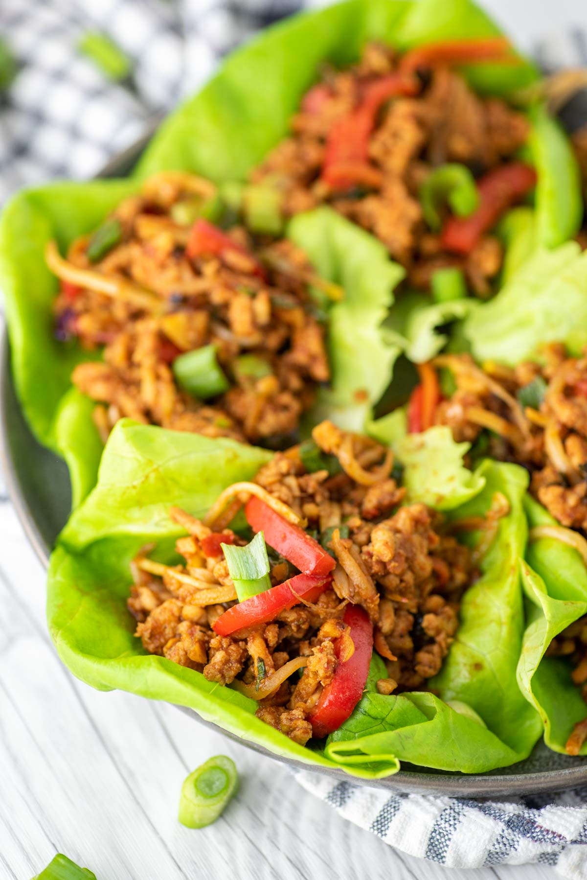 lettuce wraps on slate plate