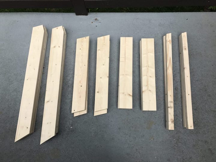 cut wood laid out