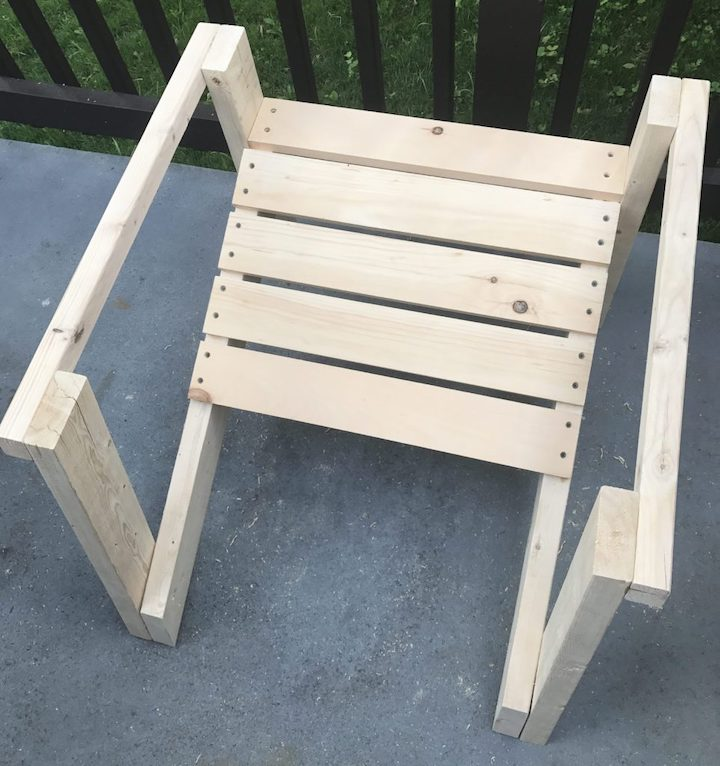base of adirondack chair with sides attached