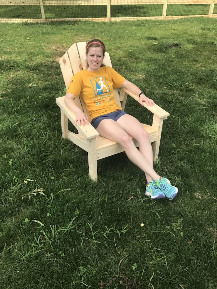 homemade Adirondack chairs not stained