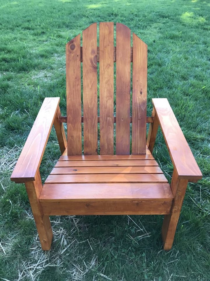 adirondack chair stained and on grass