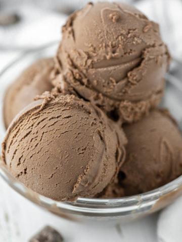 4 scoops of dark chocolate gelato in glass bowl