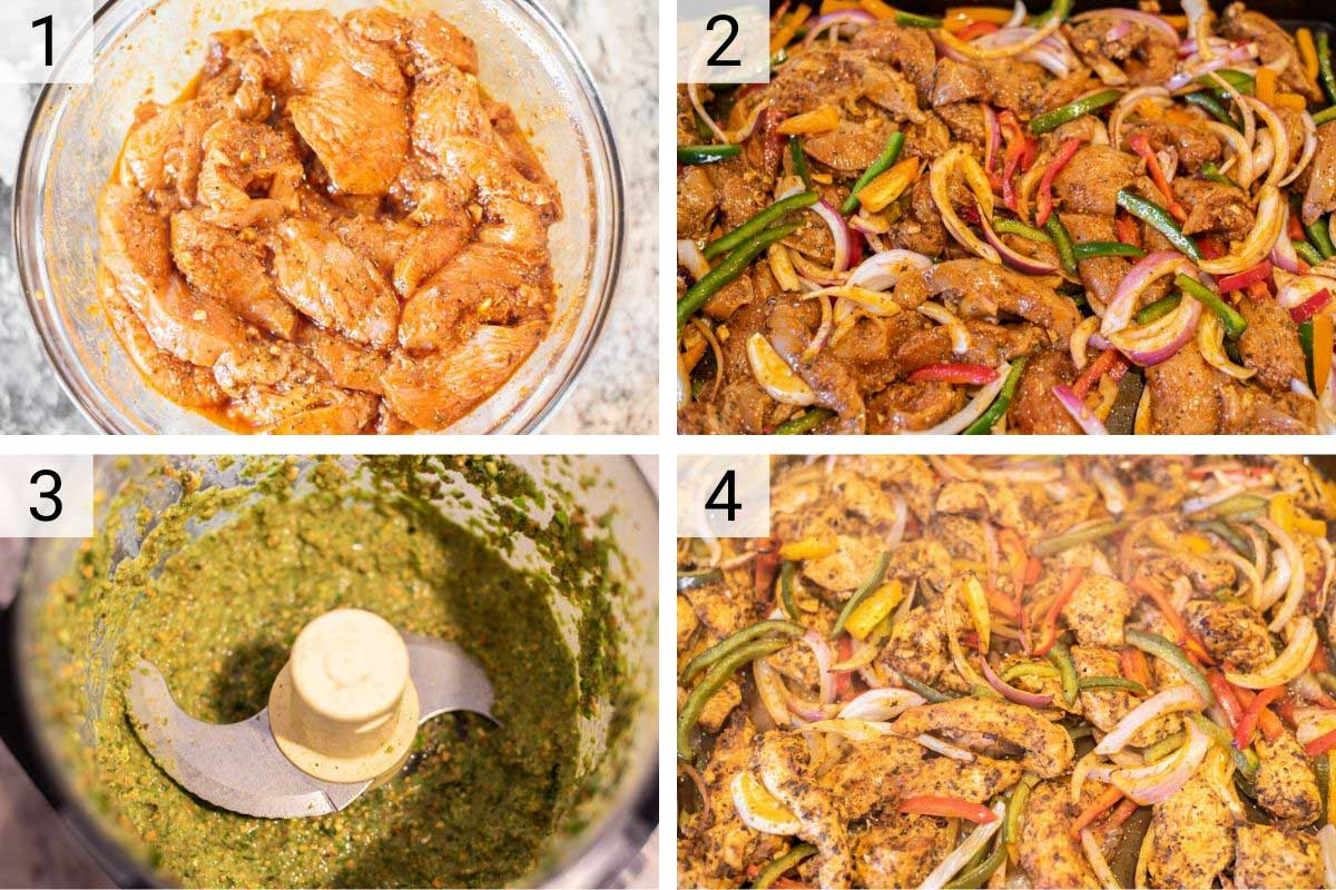 process shots of how to make Greek chicken lettuce wraps