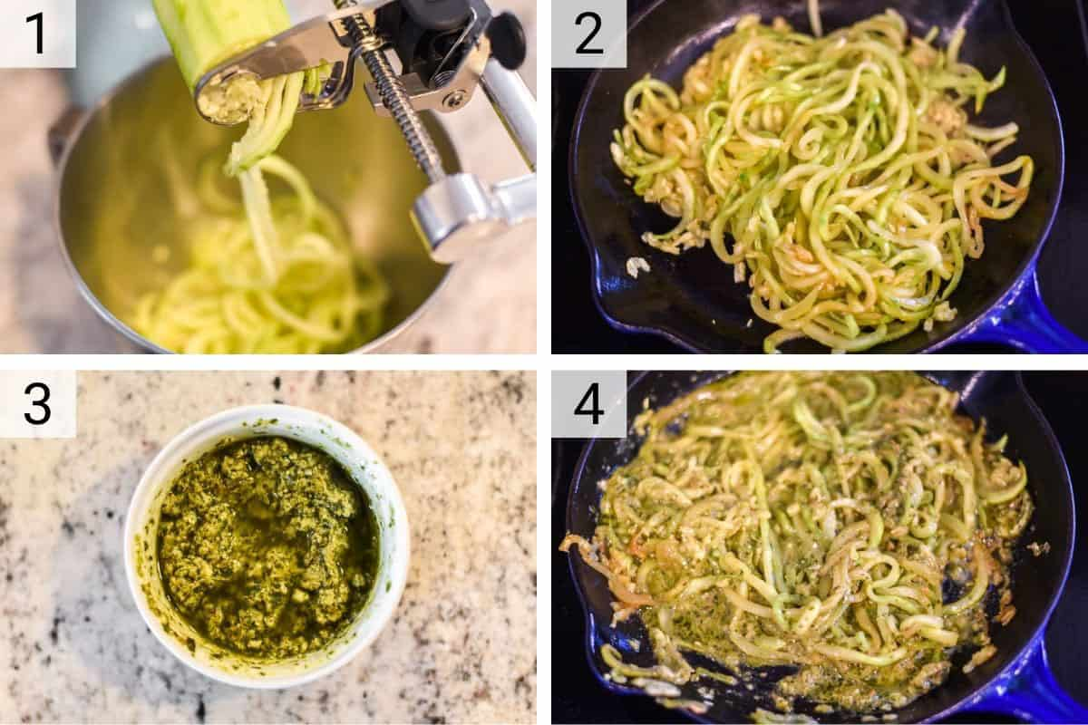 process shots of how to make spiralized zucchini with pesto