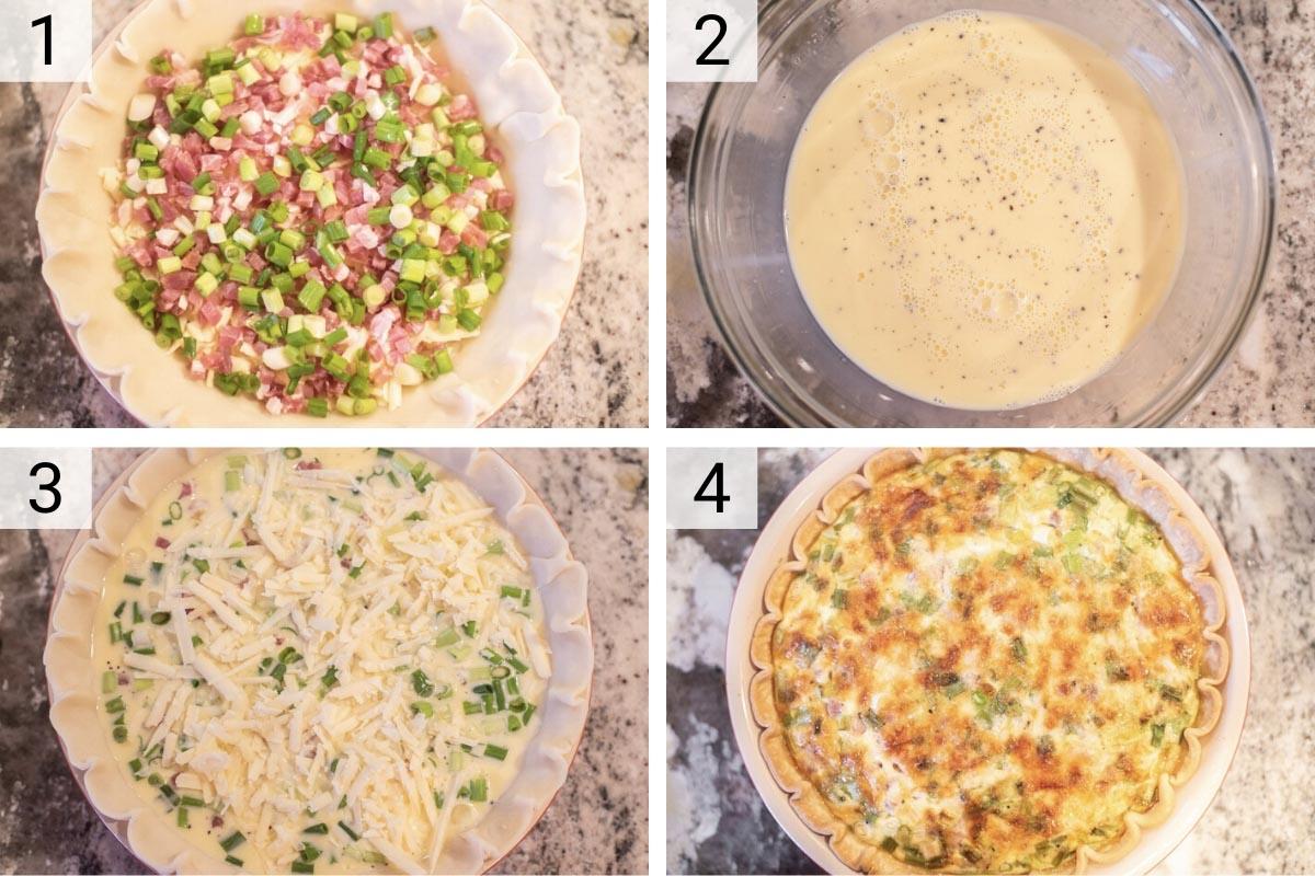 process shots of how to make prosciutto quiche