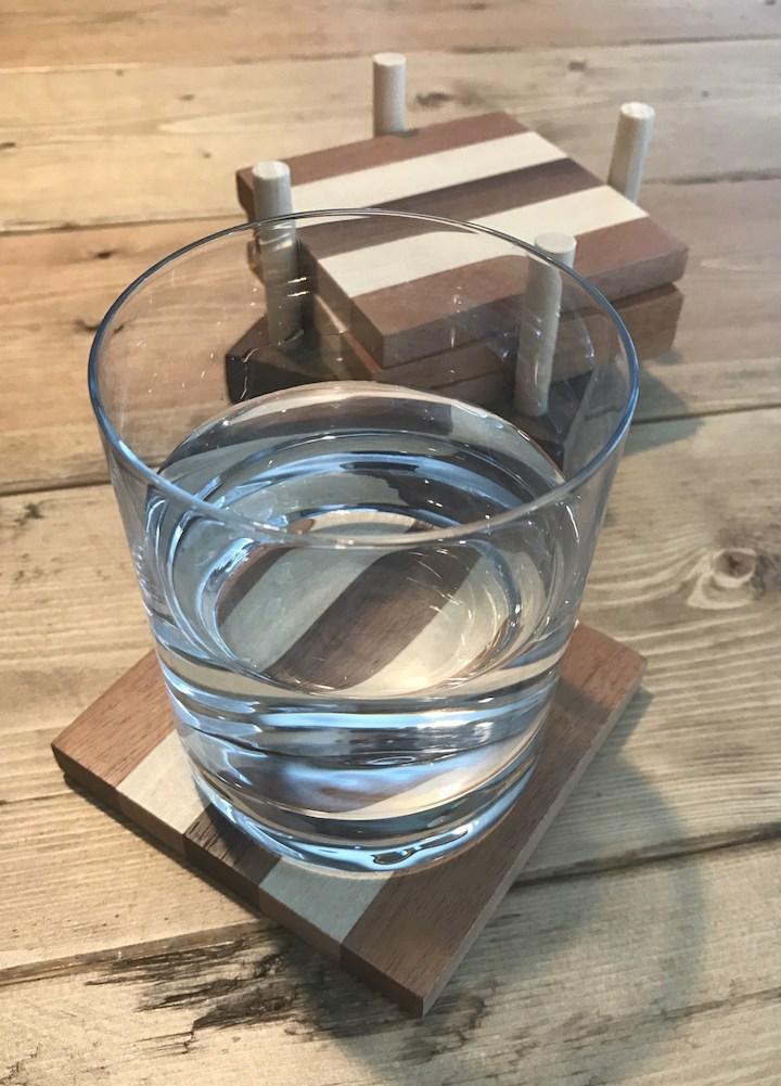glass on wood coaster