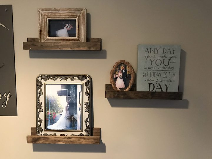 DIY wood shelves on wall