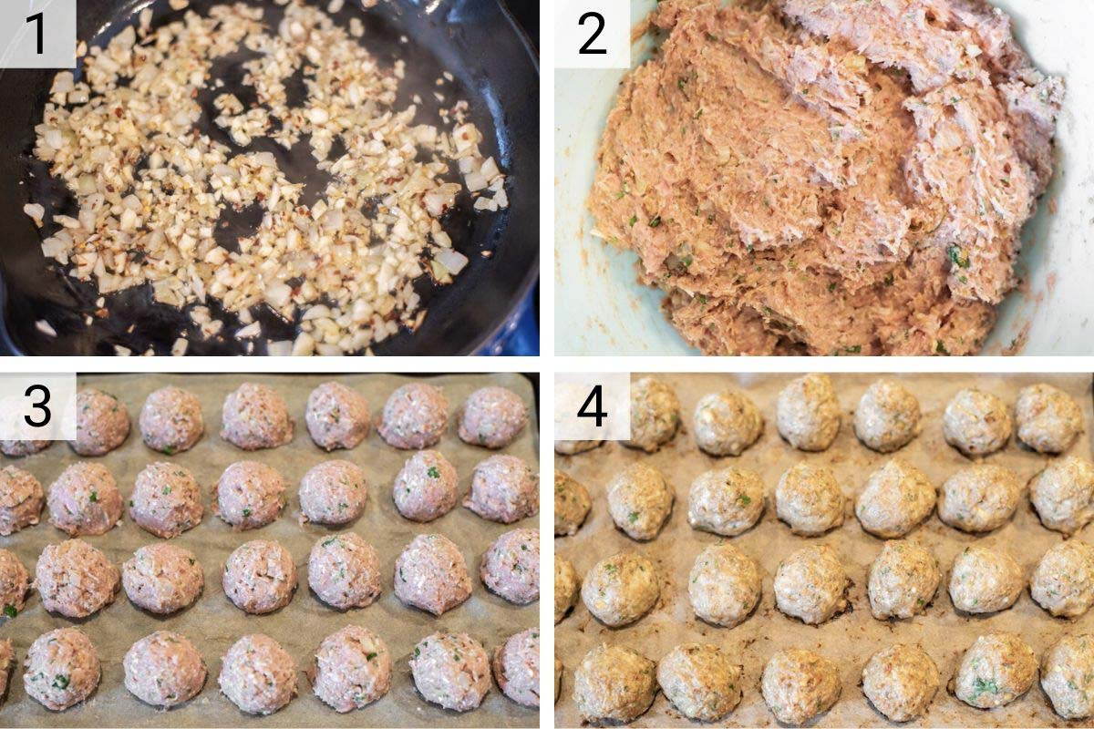 process shots of how to make turkey meatballs