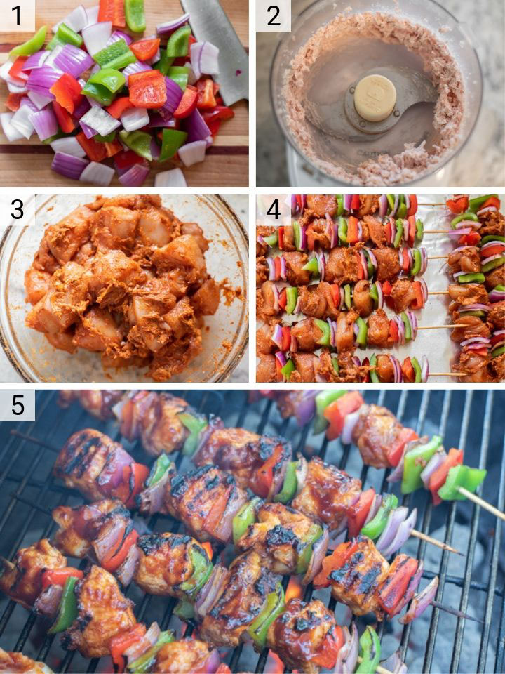 process shots of how to make BBQ chicken kebabs
