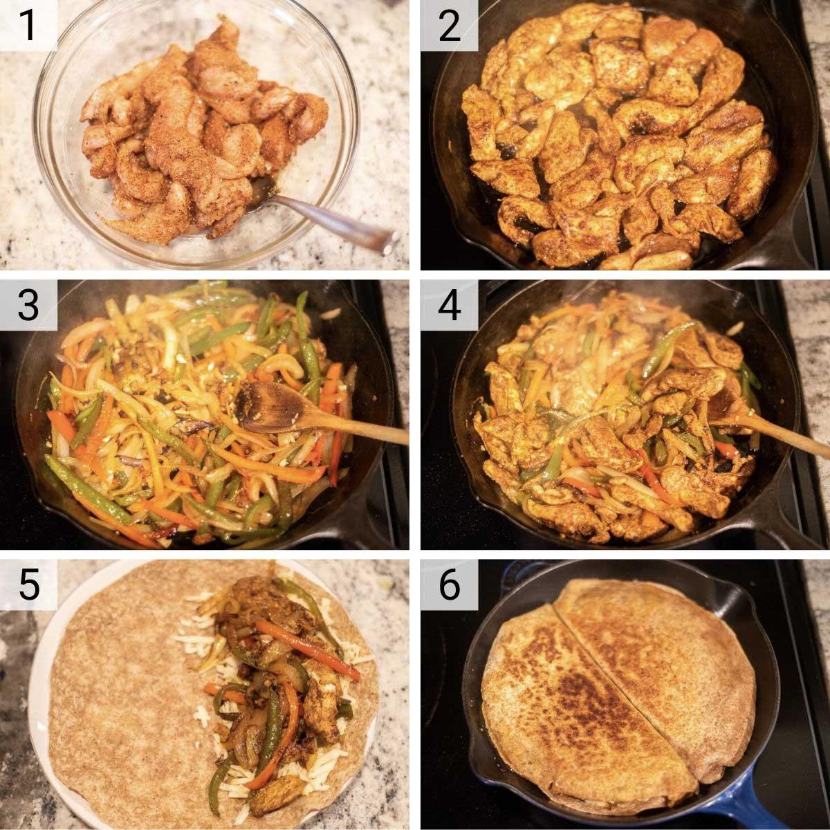 process shots of how to make chicken fajita quesadillas
