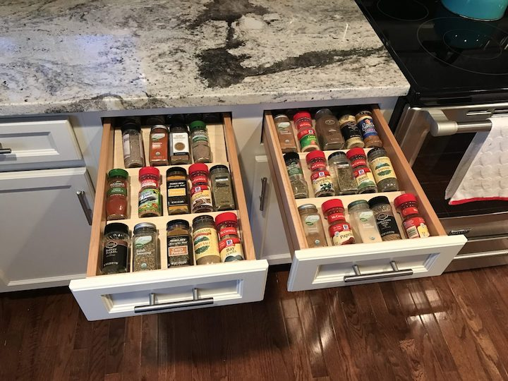 two spice drawer organizers with spice