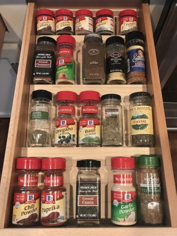 spice drawer organizer with spices