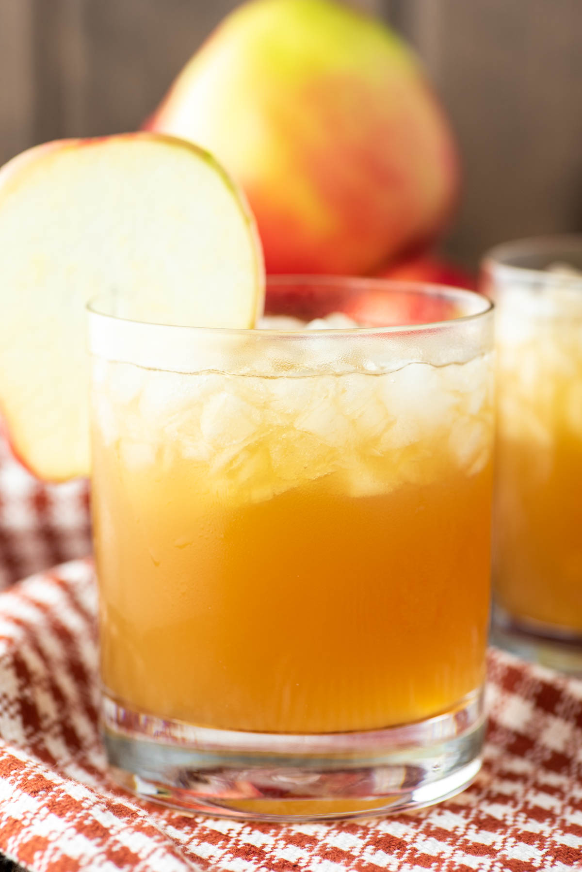 apple cider cocktail in glass