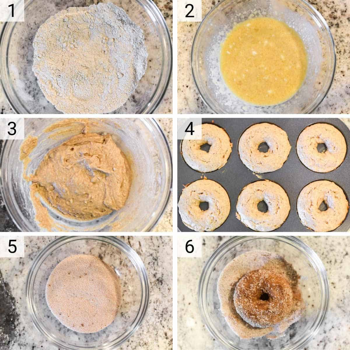 process shots of how to make apple cider donuts