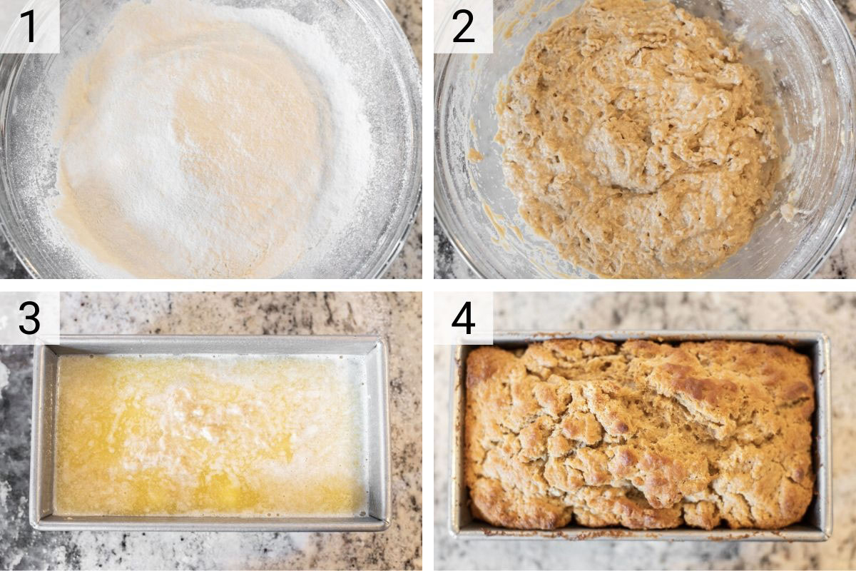process shots of how to make beer bread