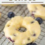 blueberry donut on cooling rack