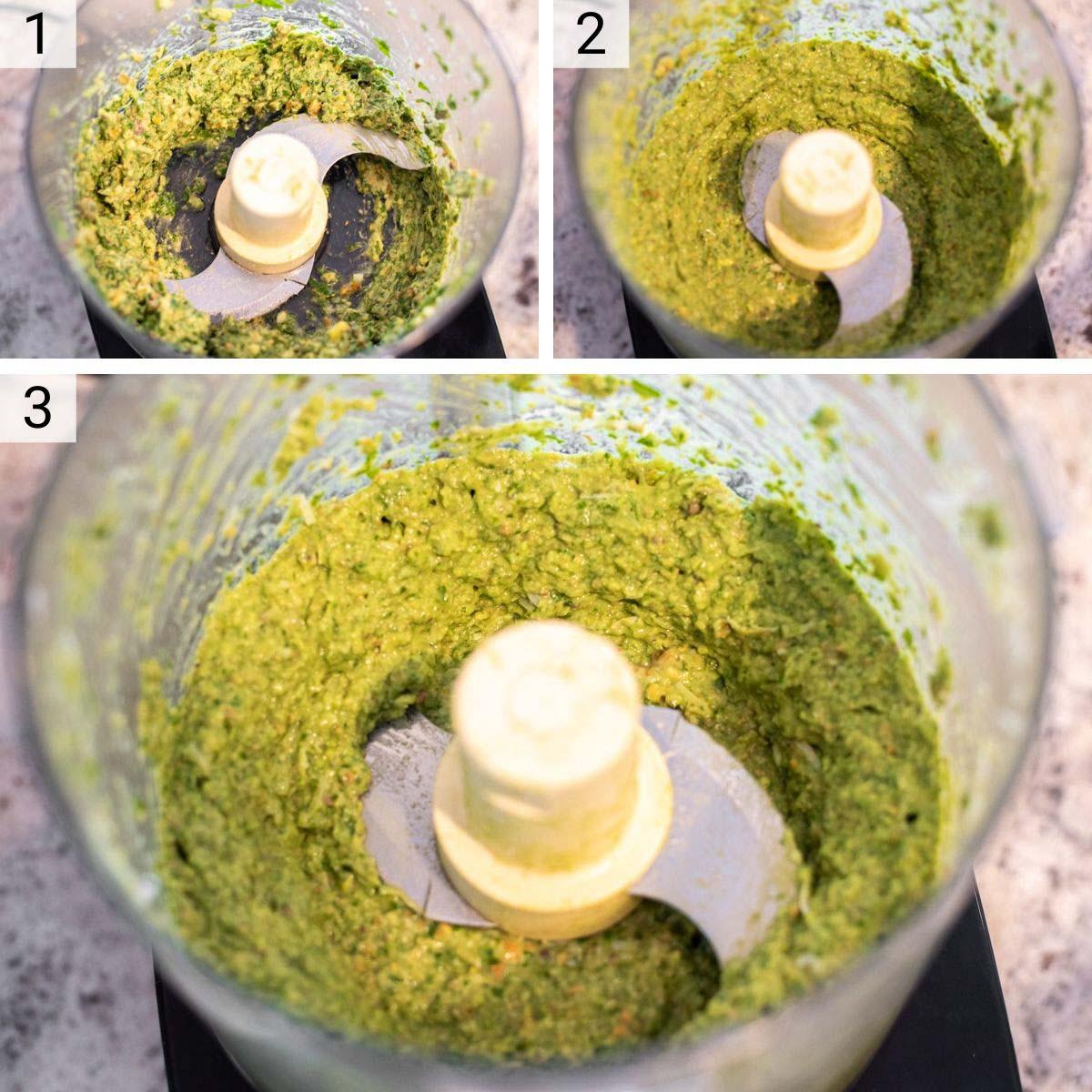 process shots of how to make avocado pesto