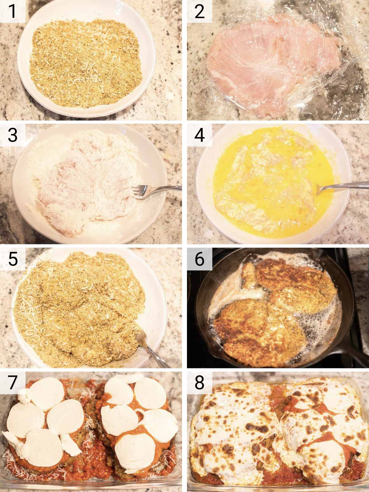 process shots of how to make breaded chicken parmesan