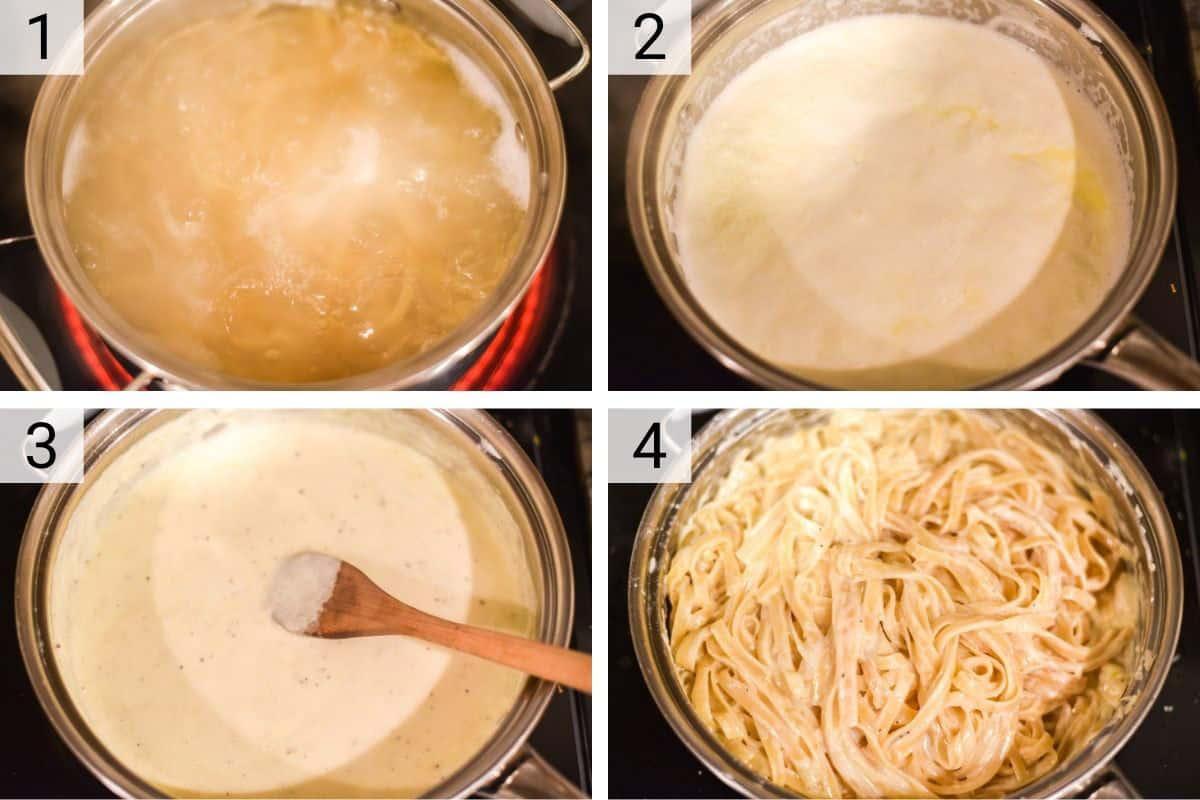 process shots of how to make fettuccine alfredo