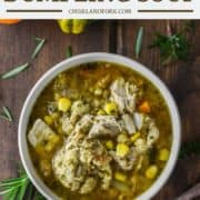 overhead shot of a bowl of turkey dumpling soup