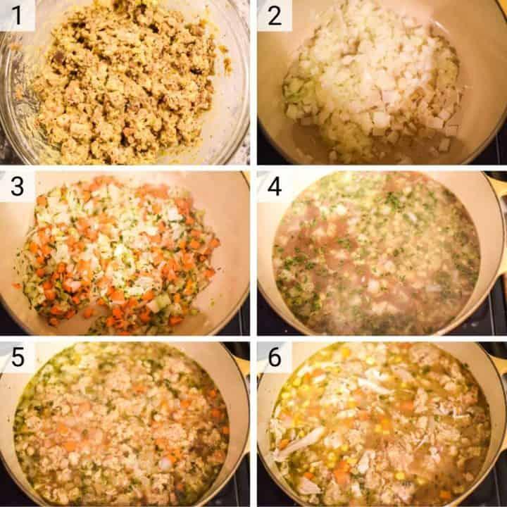 process shots of how to make turkey dumpling soup