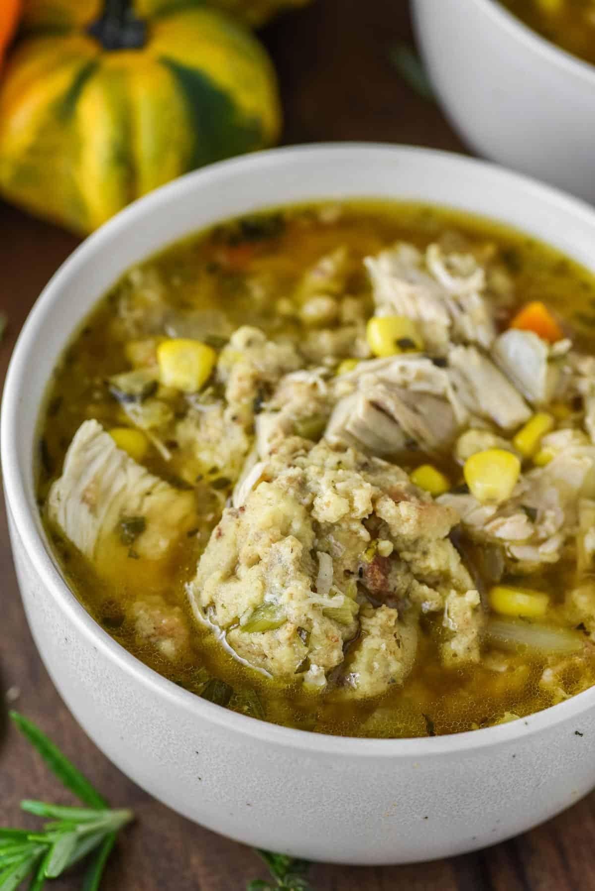 close-up of turkey dumpling soup in speckled bowl
