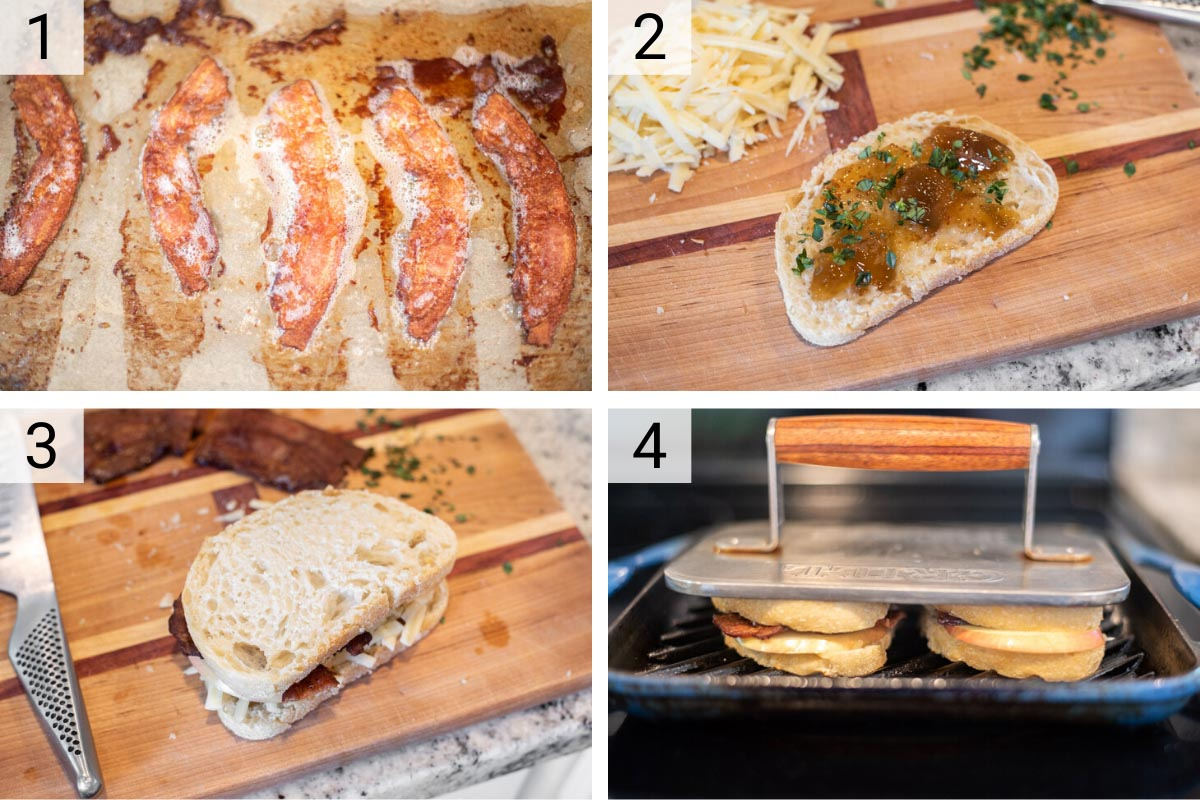 process shots of how to make apple cheddar bacon paninis