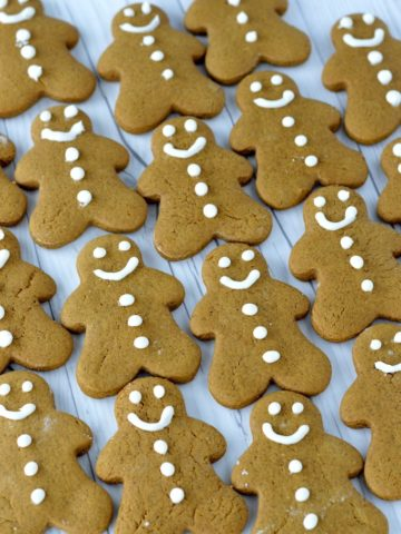close-up of homemade gingerbread cookies