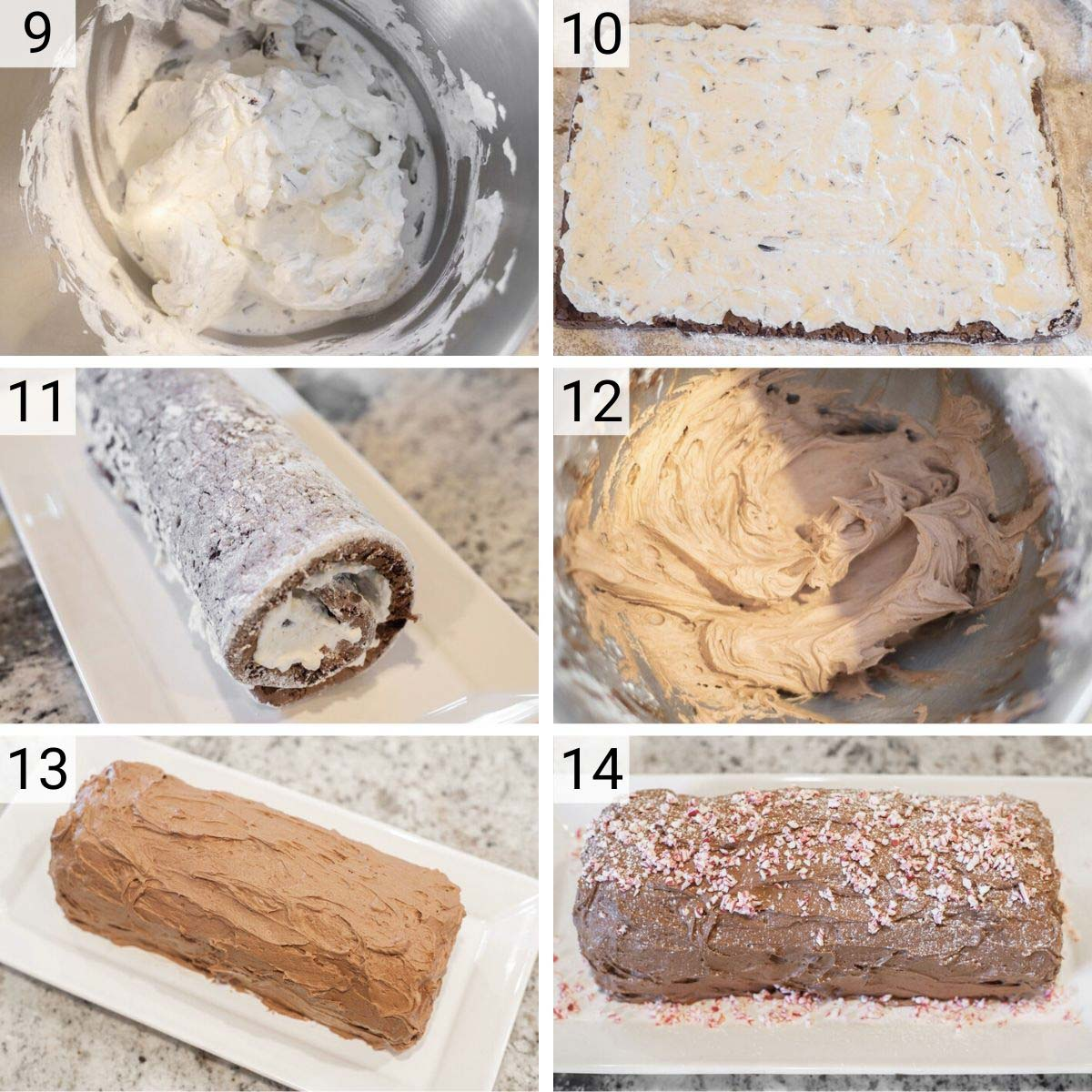 process shots of how to make peppermint bark yule log