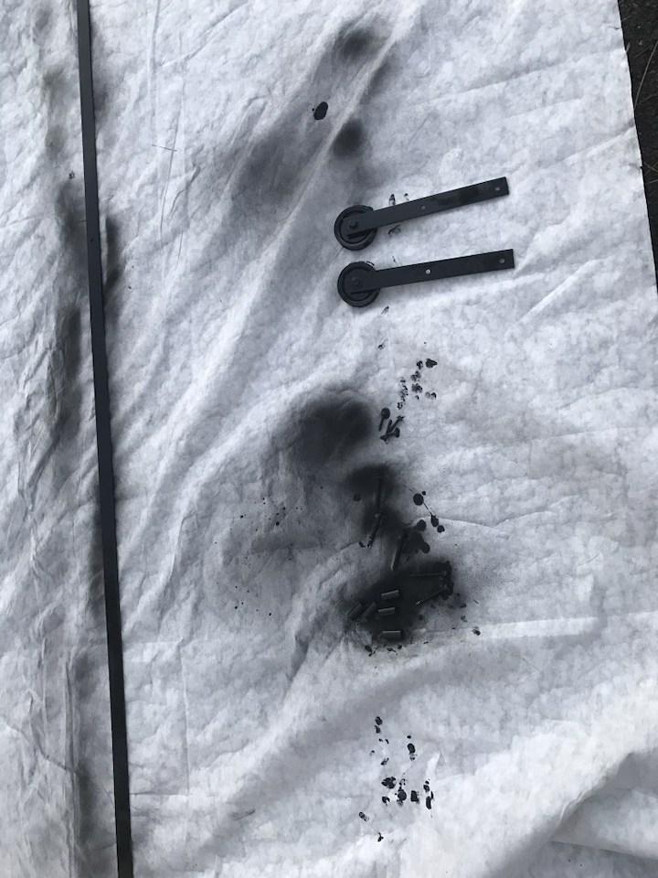 spray painting sliding door hardware black