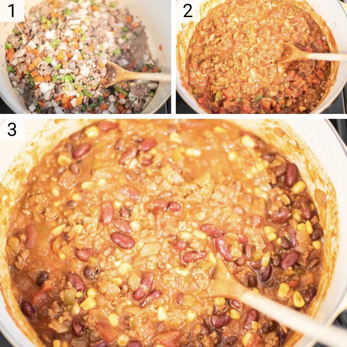 process shots of how to make beef chili