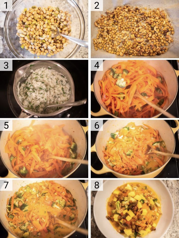process shots of how to make Thai vegetable curry