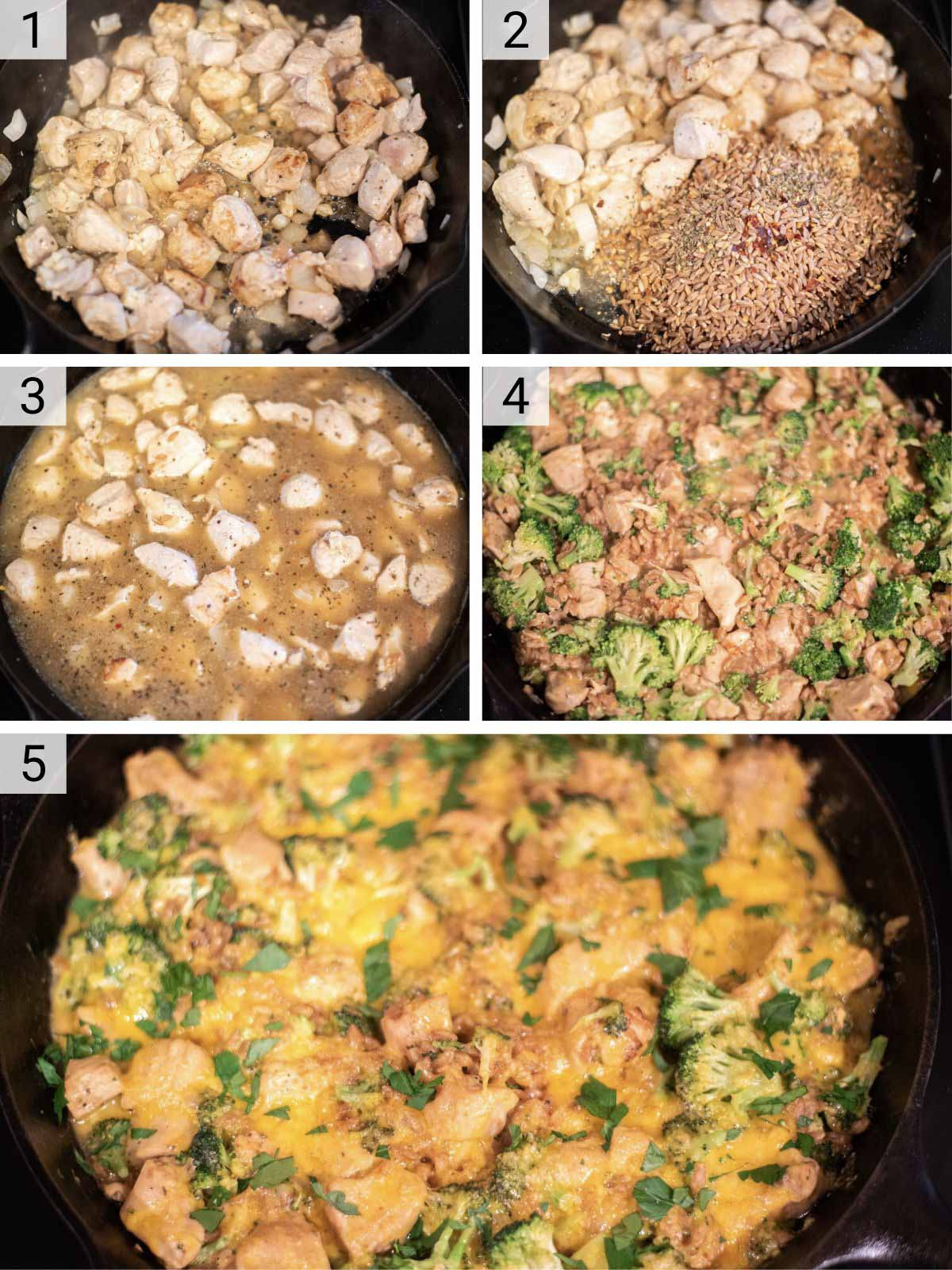 process shots of how to make chicken broccoli bake
