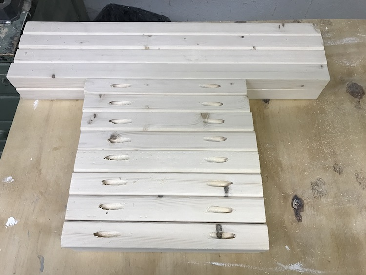 cut pieces of wood for end table