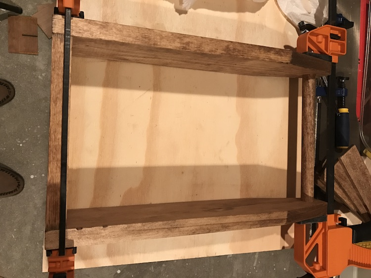 gluing wine caddy together