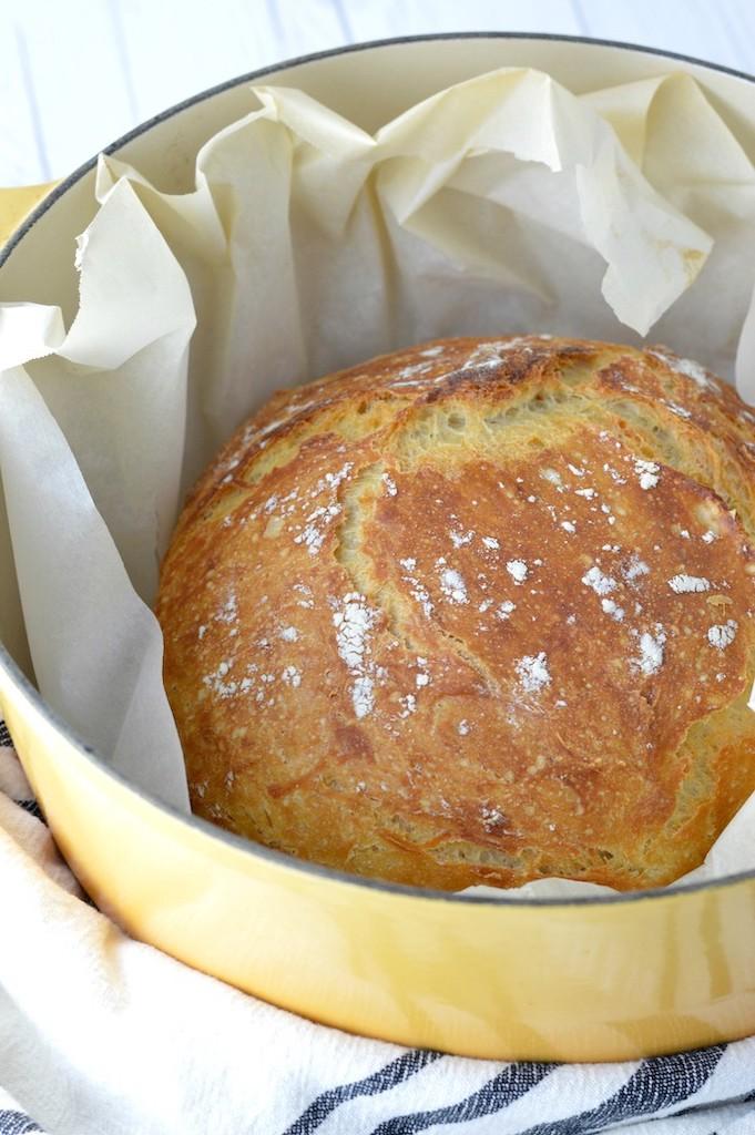 no-knead bread in yellow dutch oven
