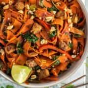 overhead shot of vegetable Pad Thai in bowl