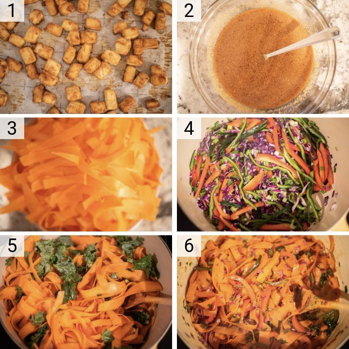 process shots of how to make vegetable pad thai