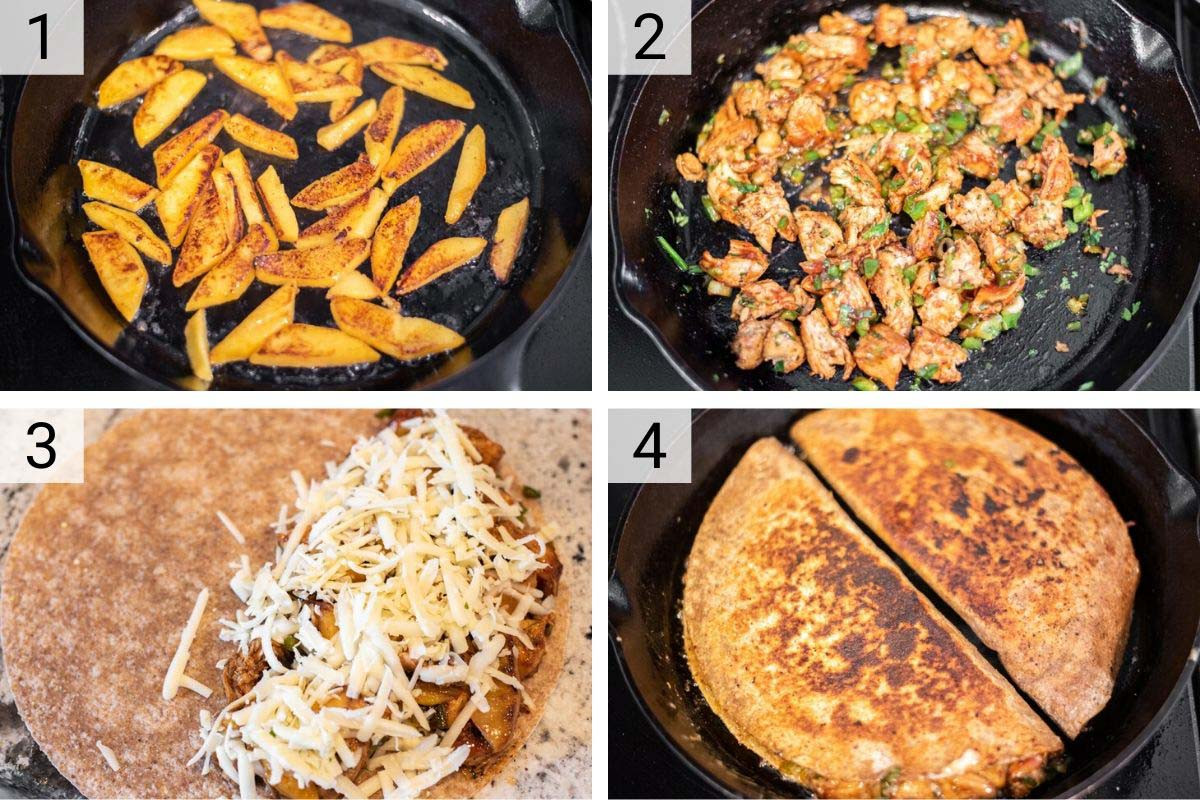 process shots of how to make BBQ chicken and peach quesadilla