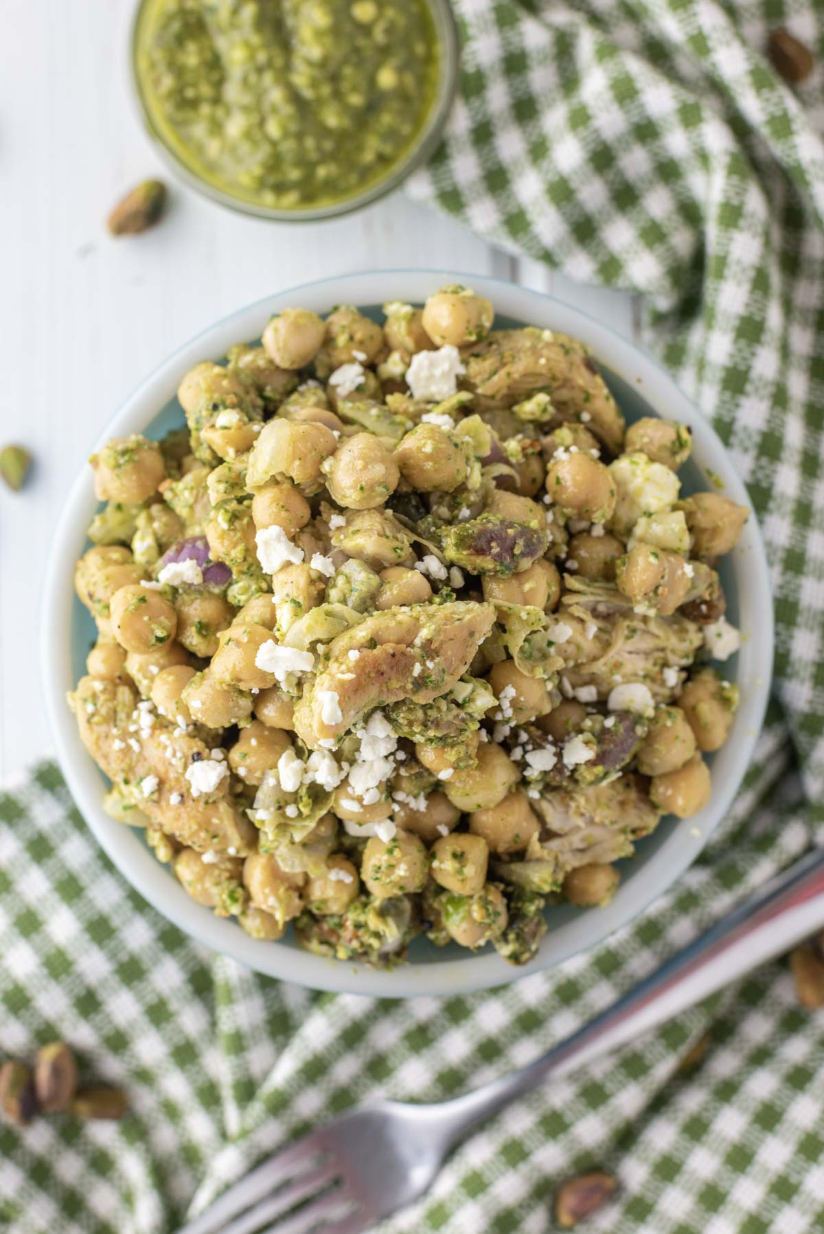 overhead shot of chickpea salad in bowl