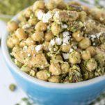 chickpea pesto salad in blue bowl