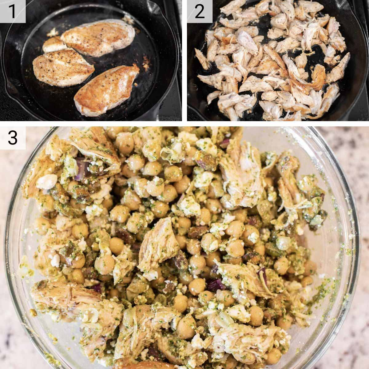 process shots of how to make chickpea pesto salad