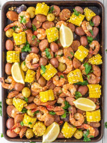 overhead shot of shrimp boil in sheet pan