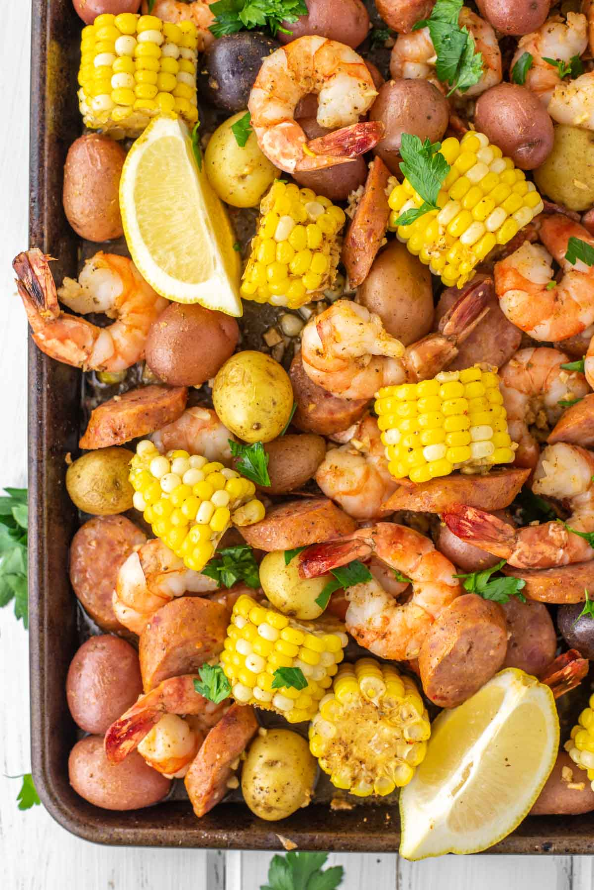 overhead shot of sheet pan shrimp boil