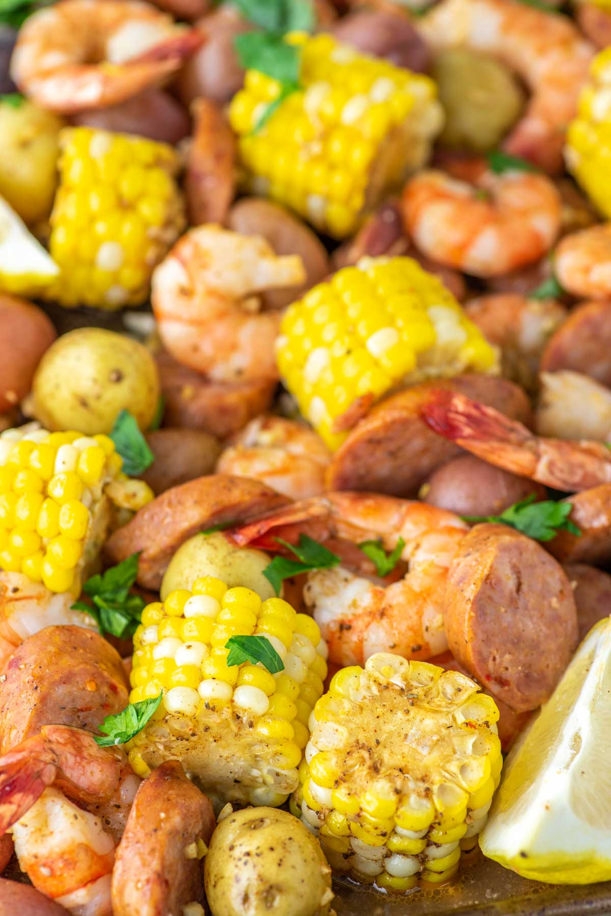 close-up of sheet pan shrimp boil