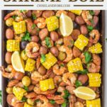 overhead shot of shrimp boil in sheet pan