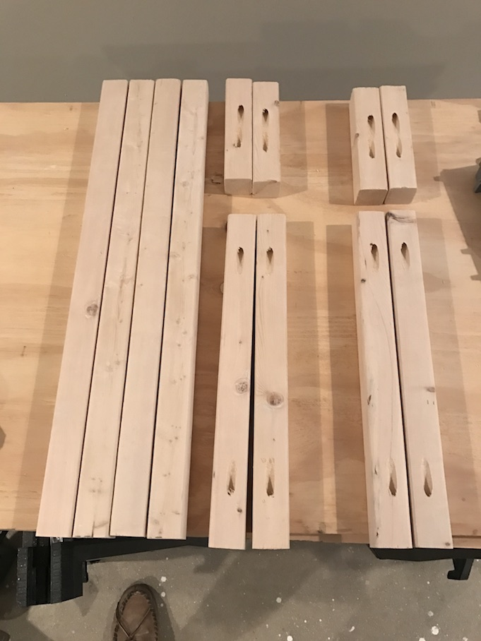 cut pieces of wood for x side table